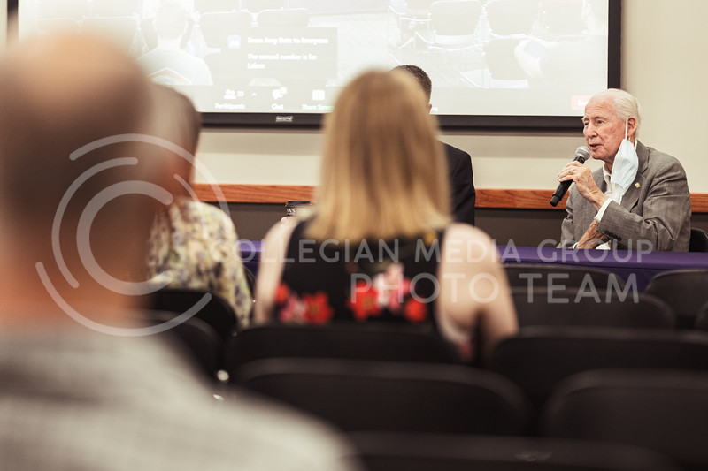 A panel of students, a Lafene doctor, a K-State counselor, and coach Bill Snyder discussed the challenges students face and resources to help you overcome these obstacles. Tuesday, Sept. 7, in Room 227 of the K-State Student Union. (Dylan Connell | Collegian Media Group)