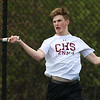 Chelmsford High School number-one singles tennis player senior Ethan Hirsch returns the ball during action against Billerica Memorial High School. SUN/JOHN LOVE