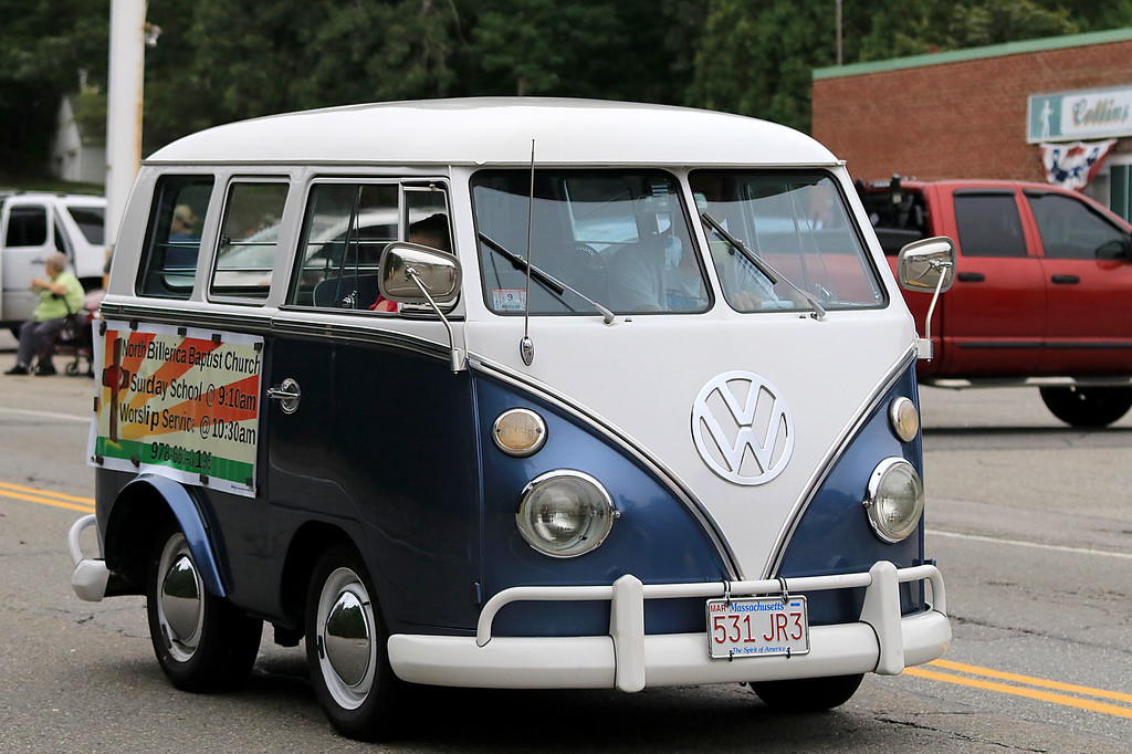 . Participating in the Billerica Yankee Doodle Homecoming Parade on Saturday, September 15, 2018 with their Volkwagon bus is the North Billerica Baptist Church. SUN/JOHN LOVE