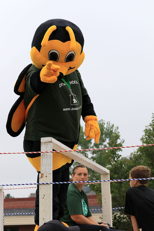 . Participating in the Billerica Yankee Doodle Homecoming Parade on Saturday, September 15, 2018 is the mascot from the Thomas Ditson Elementary School . SUN/JOHN LOVE