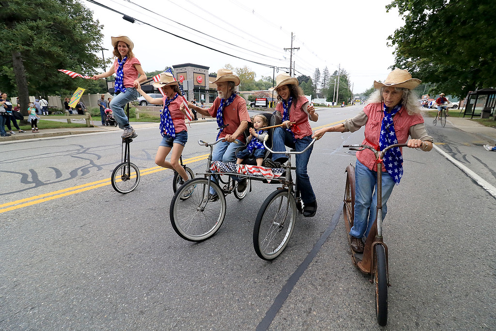 . Participating in the Billerica Yankee Doodle Homecoming Parade on Saturday, September 15, 2018 is the Cycling Murray\'s out of Cambridge MA and Rochester Vt.  SUN/JOHN LOVE