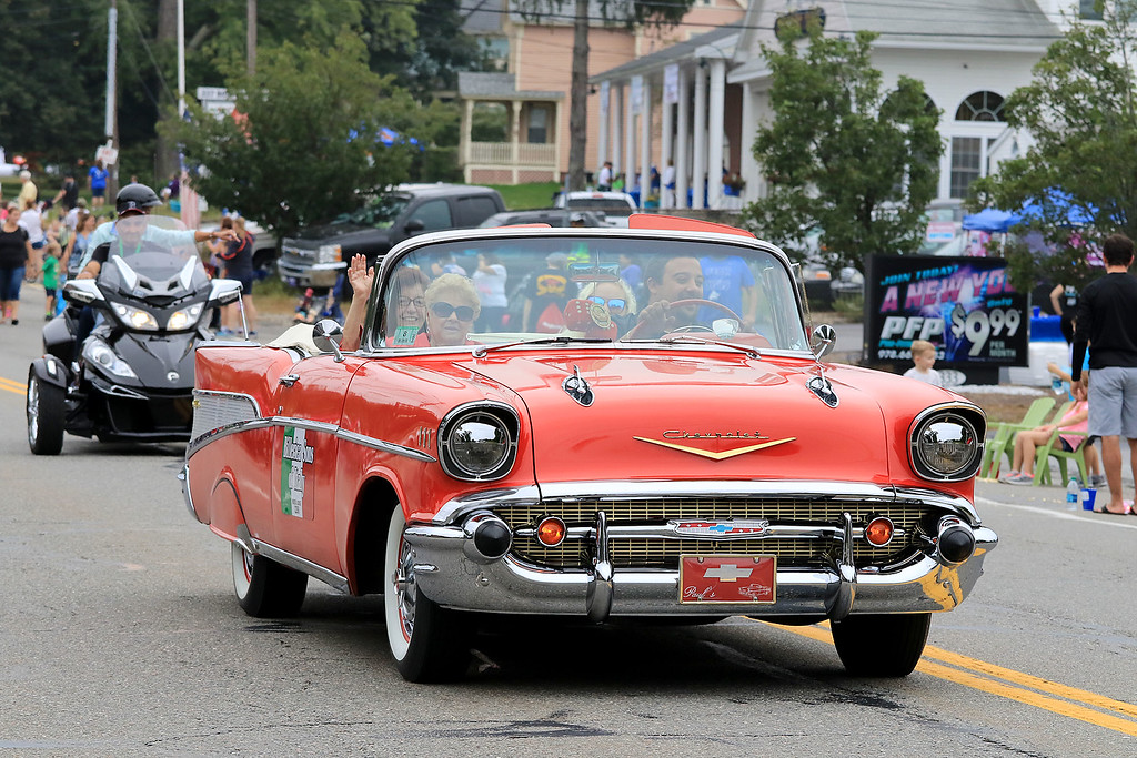 . Participating in the Billerica Yankee Doodle Homecoming Parade on Saturday, September 15, 2018 with this antique Chevy Belair is the Billerica Sons of Italy Lodge 2268. SUN/JOHN LOVE
