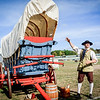 Lloyd Perry of Dartmouth shows off his handmade carriage at the Yankee Doodle event in Billerica. SUN/Caley McGuane