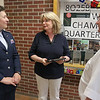 Cyril D. Locke Middle School teacher Maureen Parker, center,  receiving the Aerospace Education Teacher of the Year award on Wednesday afternoon at the school. with her is Lt. Col Shelley Rosenbaum-Lipman and Col. Everett Hume. SUN/JOHN LOVE