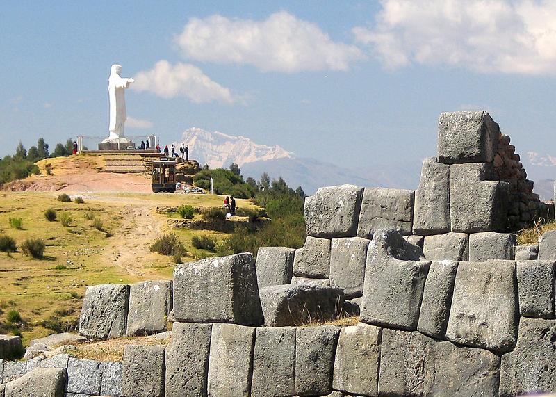 Statue of Christ near the ruins of Ollantaytambo, Peru