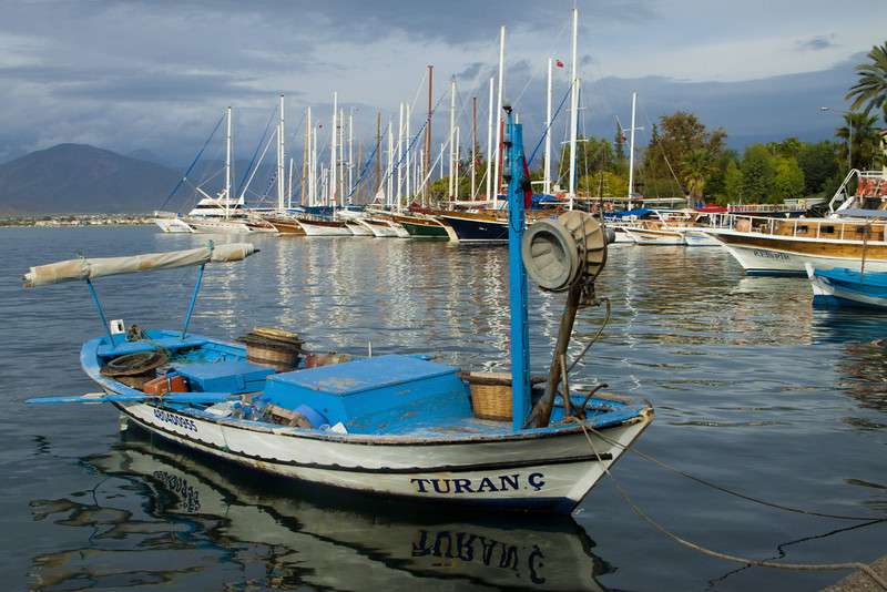Boats in harbor of Fethiye, Turkey
