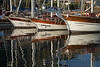 Boats reflected in the harbor of Fethiye, Turkey