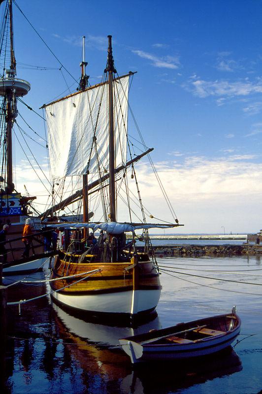 The ship Discovery, circa 1607, a 20-ton Pinnance, at Jamestown Settlement, Virginia