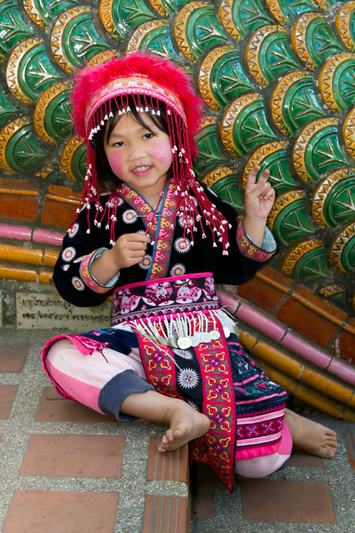 Child of the Karen tribe at  Wat Phra That Doi Suthep,  Chiang Mai, Thailand