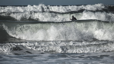 Paddle boarding during a High Surf Advisory - Dillon Beach January 2019