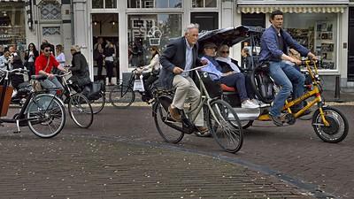 Rush hour in the Jordaan - a popular neighborhood in Amsterdam