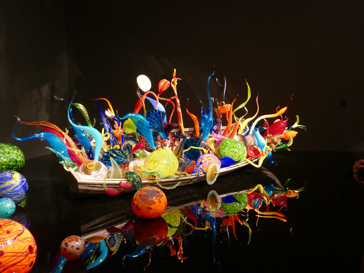 We spent a couple of days in Seattle visiting  Lesley's cousin and seeing this glass museum.  Very imaginative work like this boat full of strange and colorful creatures.  We also spent most of a day in the Museum of Flight.