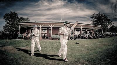 Bilton batsmen walk out for their innings
