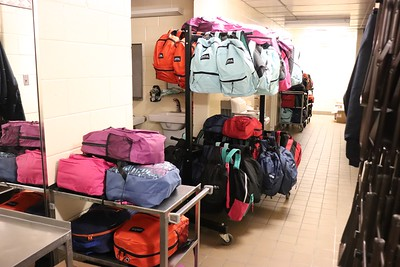 A selection of packed bags ready to go.