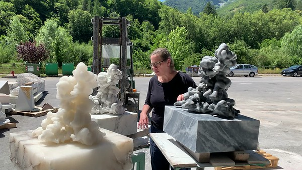 Working on three cloud sculptures in marble and alabaster