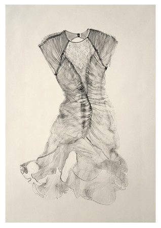 A calligraphic prints of a dress that looks a fashion, culture and perceptions of beauty by artist Karen LaMonte