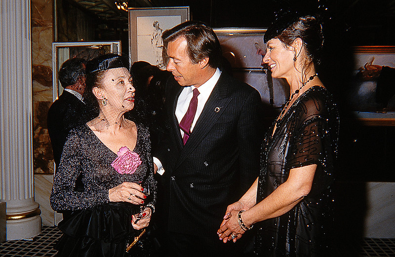 Robert and Rose Heindel speaking with Oriana Fallaci, an unstoppable force of nature, during the opening at the Hotel de Paris in Monte Carlo in December of 1987.
