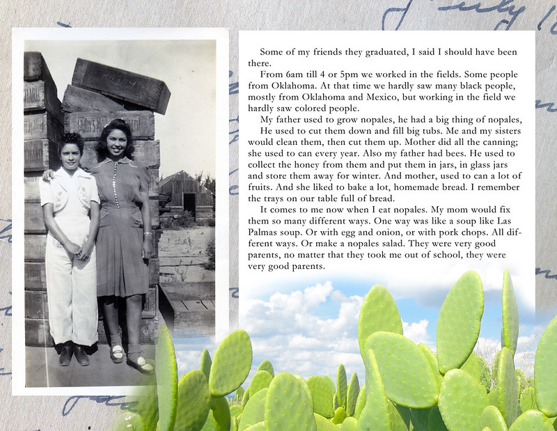Inside page, showing transcript of an oral history interview with Mrs. Flores