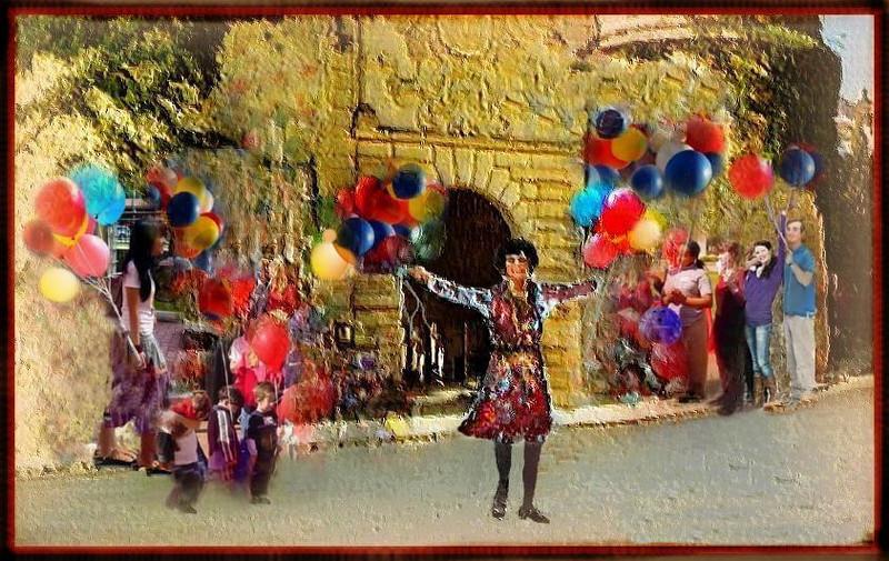 Balloons with Salomé in the Pueblo Español