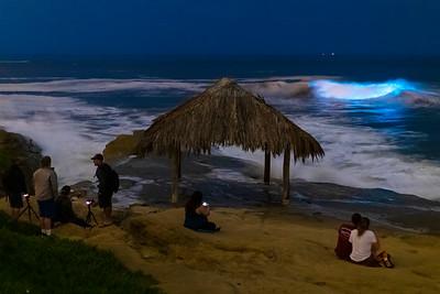 Enjoying the Bioluminescence at the Windansea Beach Surf Shack.