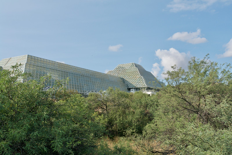 Long structure section with the Savannah and Ocean inside.<br /> Pyramid structure with the Rain Forest on the right.