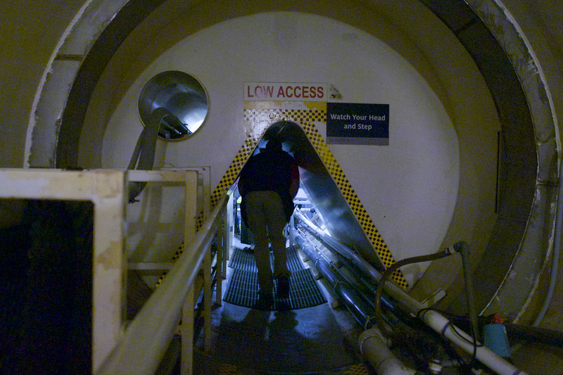 The underground tunnels, leading from the glass structures to the lung domes.
