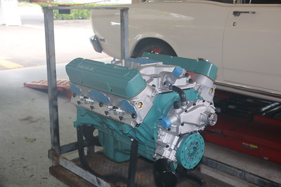 Biquette's engine at Orinda Motors - starboard front