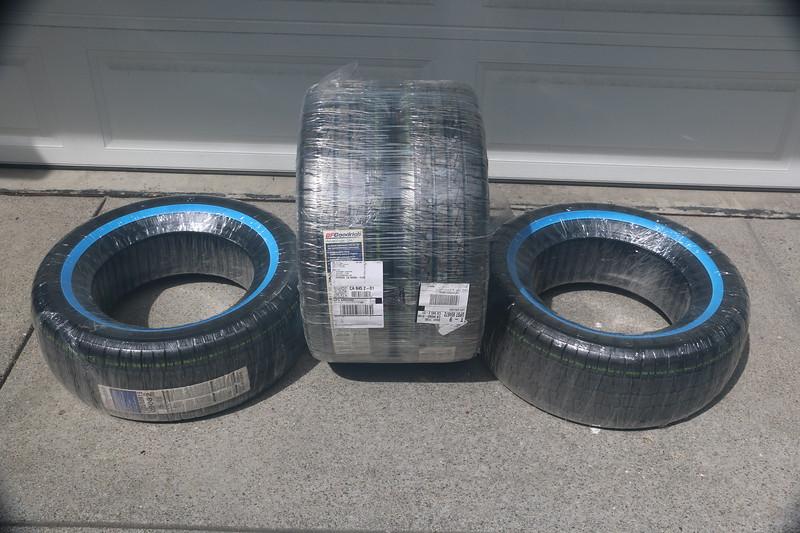 Diamondback tires in shipping plastic