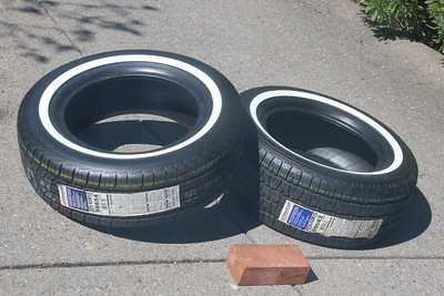 Front and rear tires showing whitewalls