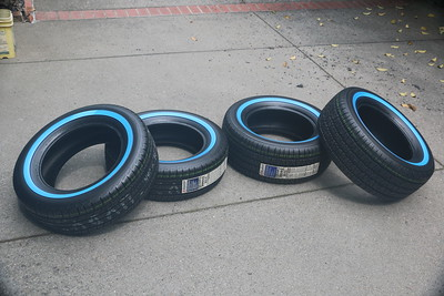 Unwrapped tires with blue covering
