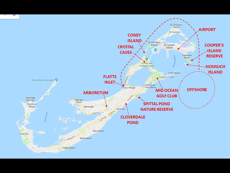 Some of the locations that we birded around the islands.