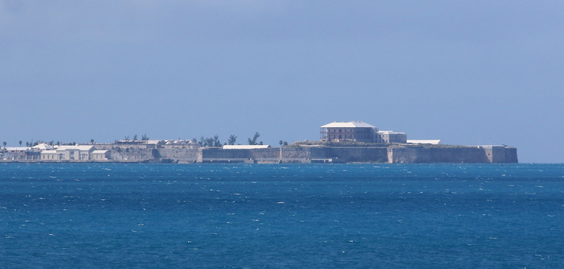 A distant view of the Royal Naval Dockyards at the far end of the island.