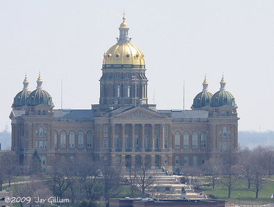 View of the state capitol building from the roof.