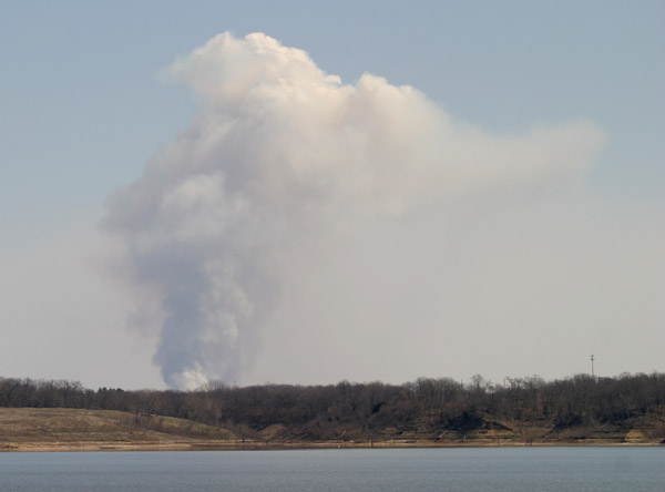 Burning field from Saylorville Lake  09 April