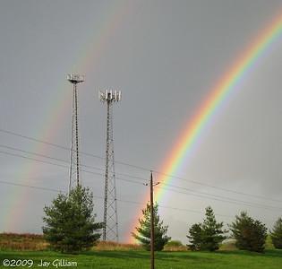 Double rainbow over the Osprey nest near Walnut Woods, Polk Co.  05-06-09