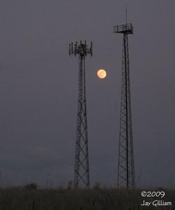 Moonrise over Osprey nest at Hallett pits, Polk Co.  05-07-09