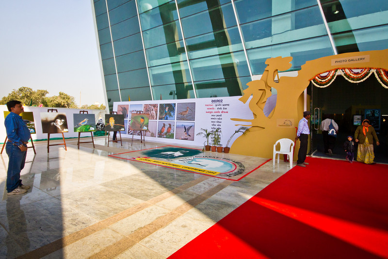 The next day is the Conference proper which started with the inauguration of the Photo Gallery at Mahatma Mandir in Gandhinagar. The gallery features bird photos, paintings and sand murals.