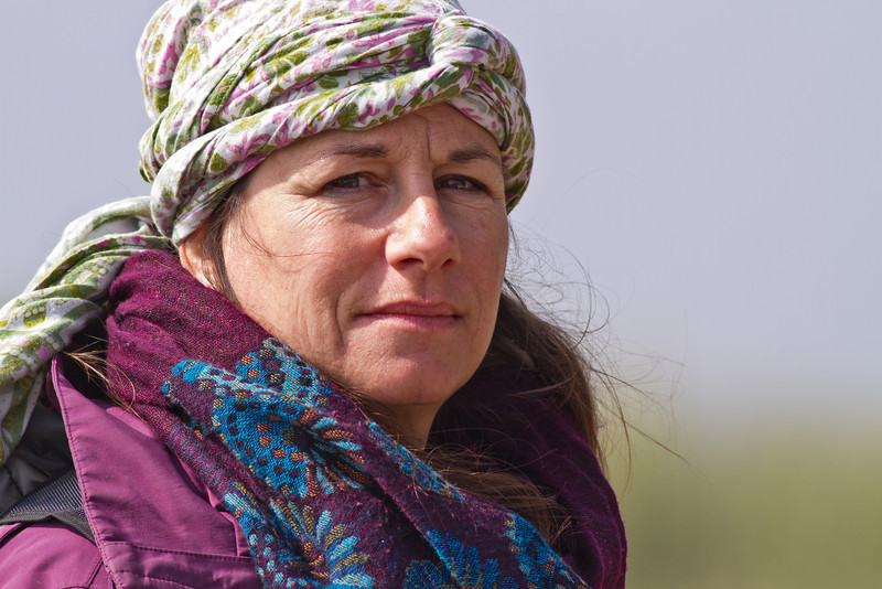 Ms. Dawn DelVecchio, Travel Writer, from USA, at Nalsarovar Bird Sanctuary.
