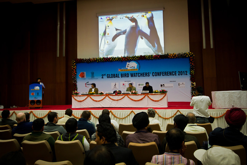 "Conference proper: Plenary Session III - Photographing and Documenting Birds, with Mr. Saleel Tambe, Wildlife Photographer from UK; Mr. Sudhir Shivaram, Wildlife Photographer from Bangalore, India, discussing ""The Art and Science of Bird Photography;""  Mr. Bhaskar Krishnamurthy from USA, Dewworks Director; and Ms. Avi Sabavala, FCCI President as panel chair."