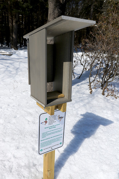 The Girl Scout troop based out of Rutland is raising money to move this feeder inside at the Stone House at Coggshall Park and put up signs that tell people that it's there. SENTINEL & ENTERPRISE/JOHN LOVE