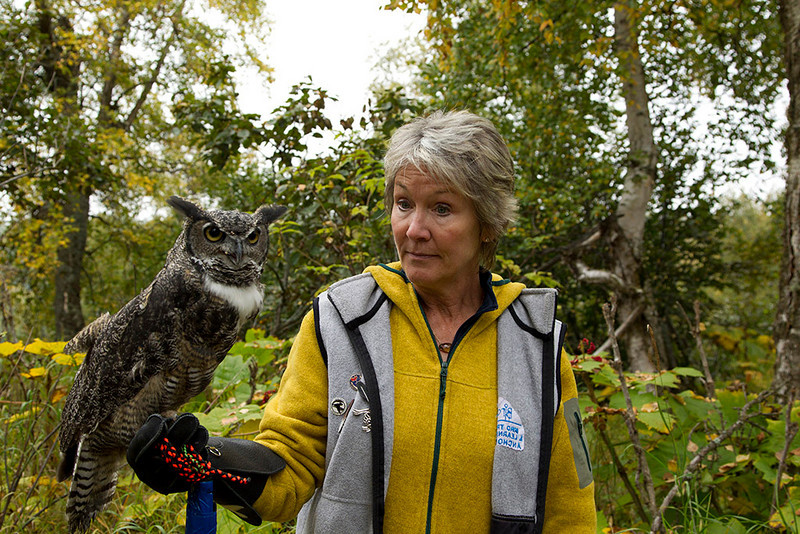 IMG_6758  Presenter Terri Johnson with Galen the Great Horned Owl