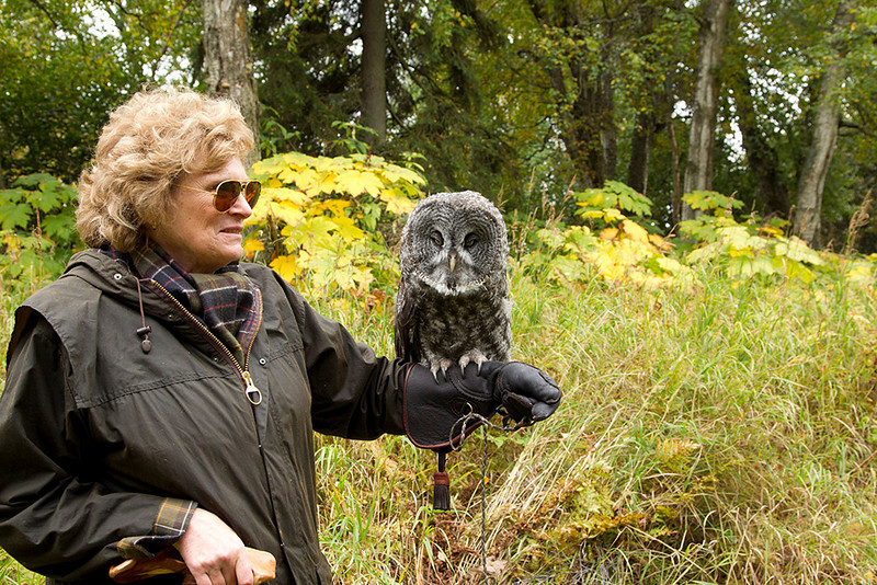 IMG_6788  Presenter Kathy Sage with Gandalf the Great Grey Owl