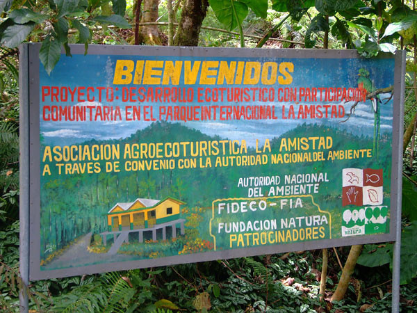 Community owned restaurant sign at La Amistad International Park