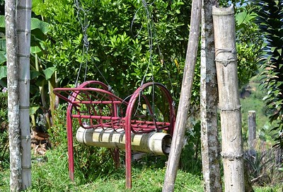A chair reused and made into a swing