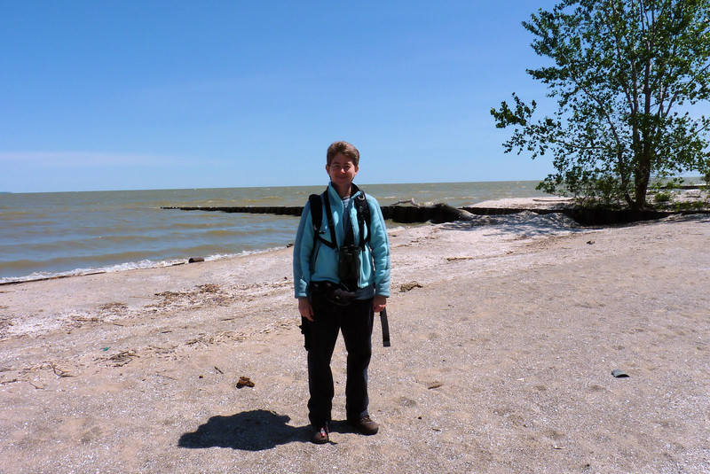 With the sun shining, we strolled out to the beach as we left Magee Marsh.  Lake Erie looks less angry today.