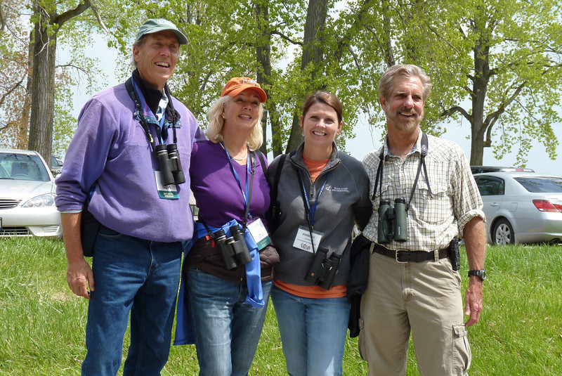My morning activity was a celebrity-guided bird walk.  Shown here are Don and Lillian Stokes, and Kimberly and Kenn Kaufman.