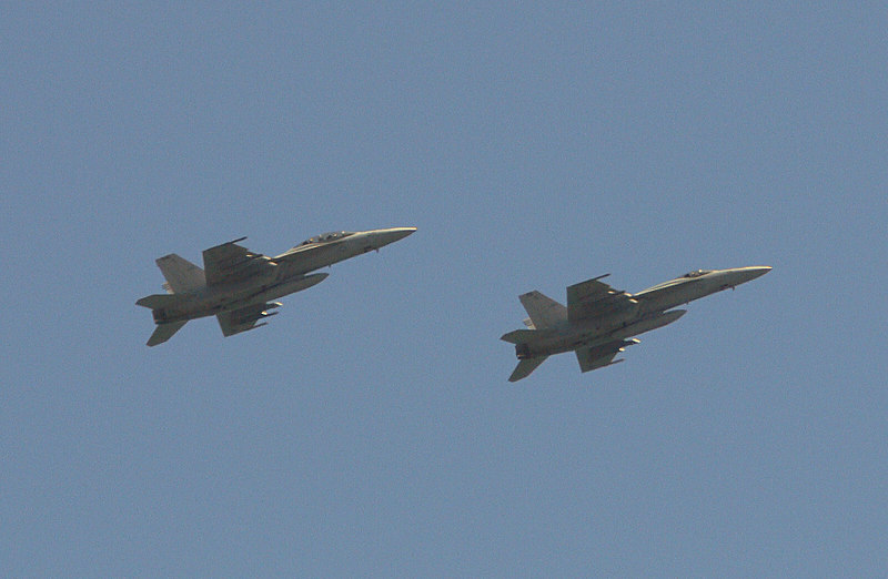 Here's an example of what is known as BBIFs --- Big Birds in Flight. These jets passed by as I was concentrating on birds. f4.5 @ 1/1300 sec.