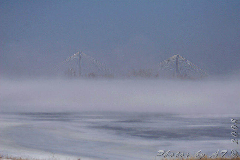 Clark Bridge from the across Ellis Bay<br /> Riverlands Migratory Bird Sanctuary