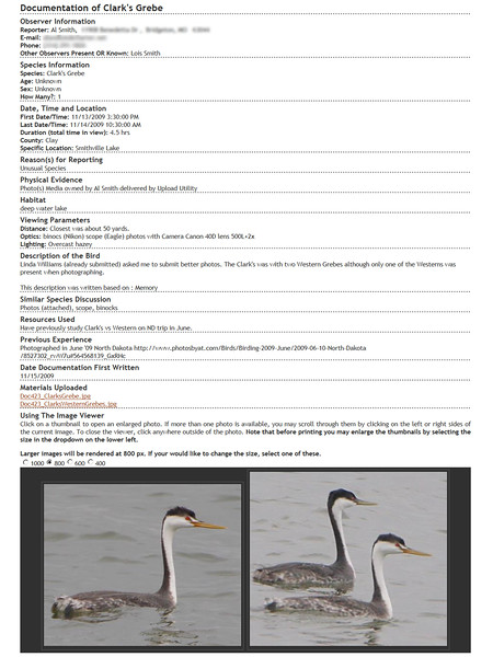 Clark's Grebe Documentation submitted to <br /> Missouri Rare Bird Committee (MRBC)