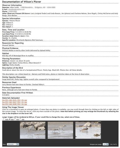 Wilson's Plover <br /> Missouri Rare Bird Committee (MRBC)